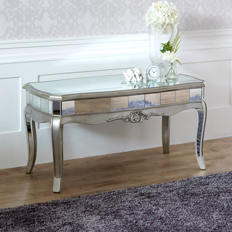 Silver Glass Coffee Table Uk: Mirrored Coffee Table
