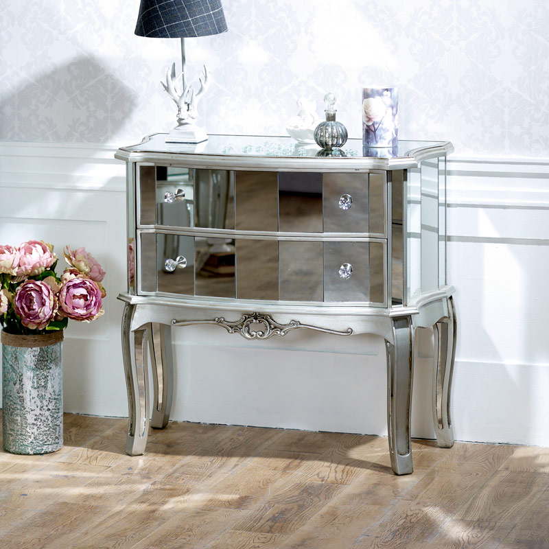 Silver mirrored chest of drawers tiffany range melody