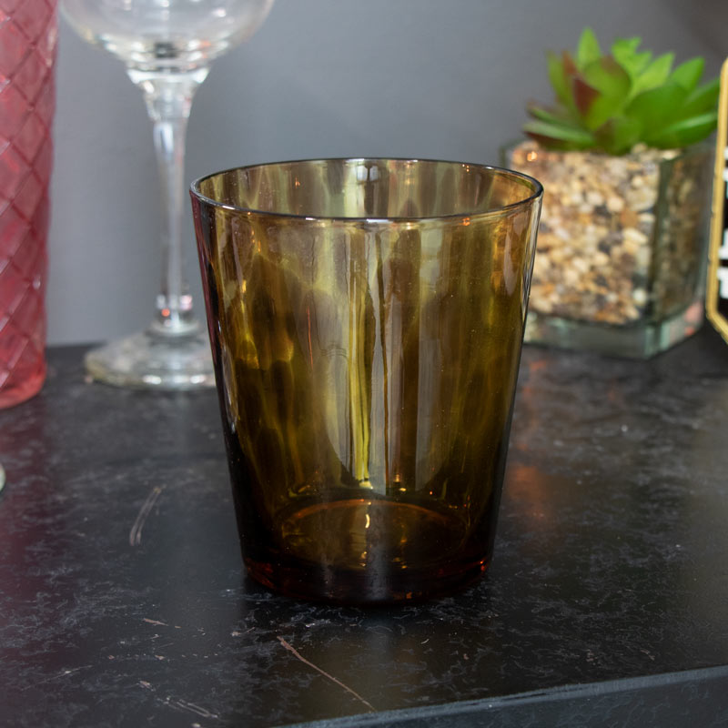 Faux Tortoise shell Glass Tealight Candle Holder