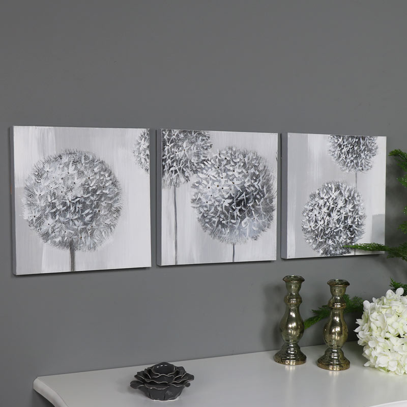 Triptych 3 piece grey flower wall art canvas oil painting print vintage gift