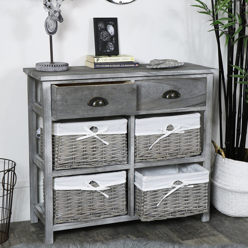 Two Drawer and Four Wicker Basket Drawers Chest - Vintage Grey Range
