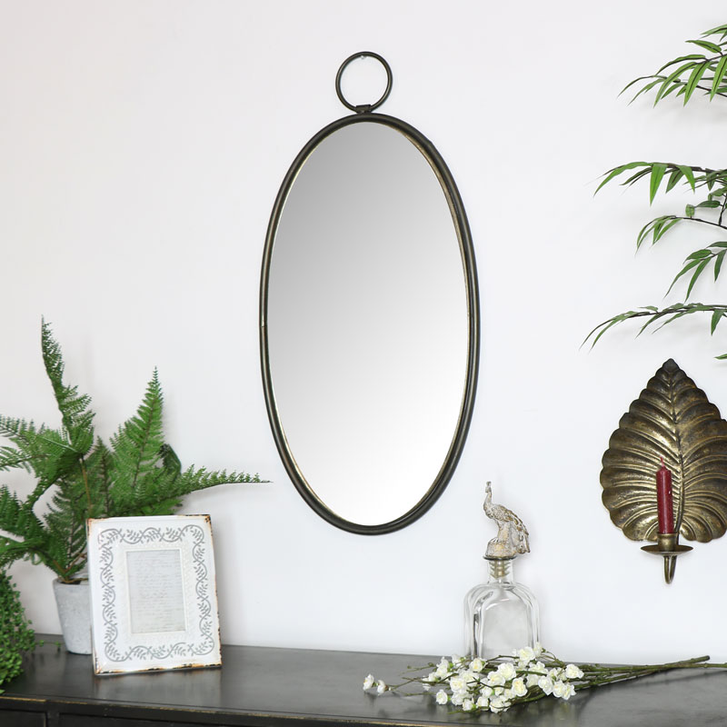 Vintage Bronze Oval Wall Mirror