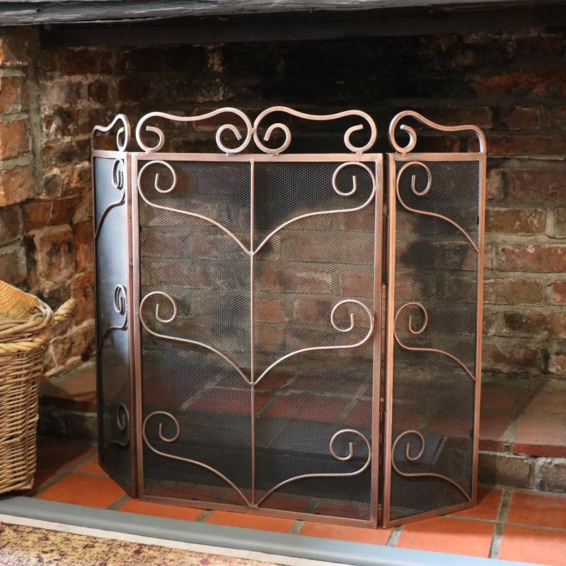 Vintage Copper Ornate Fire Screen