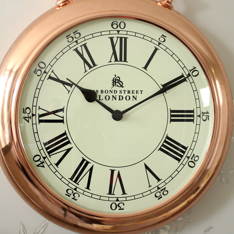 vintage copper stop watch style wall clock melody maison. Black Bedroom Furniture Sets. Home Design Ideas