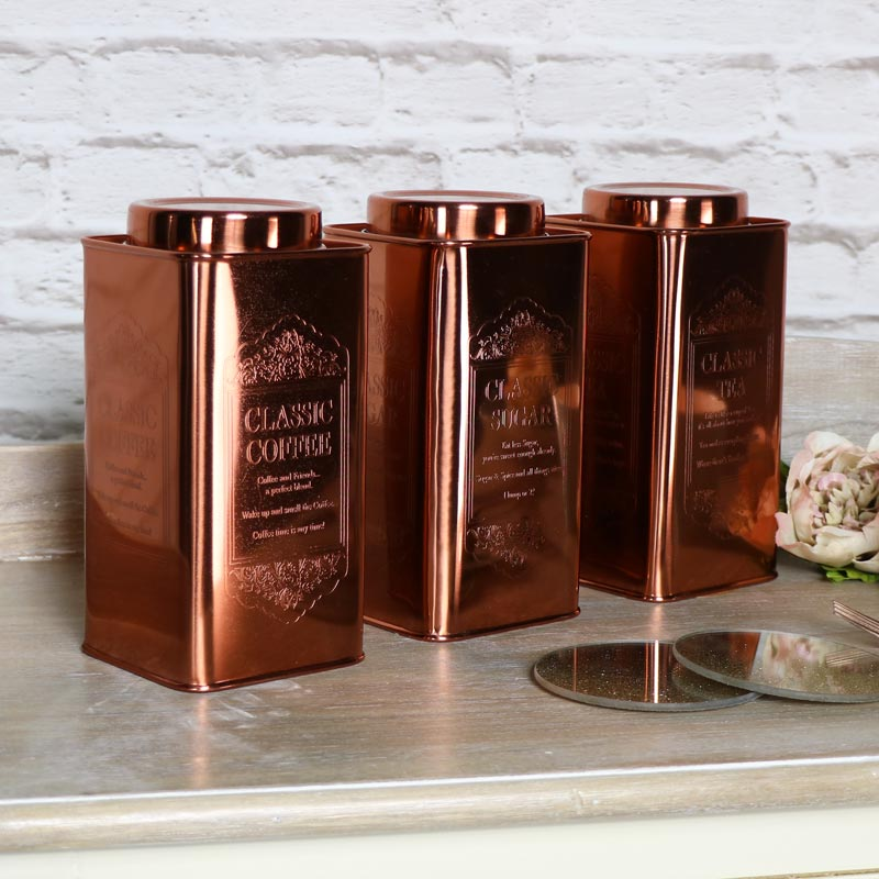 Vintage Copper Tea, Coffee, Sugar Storage Canisters