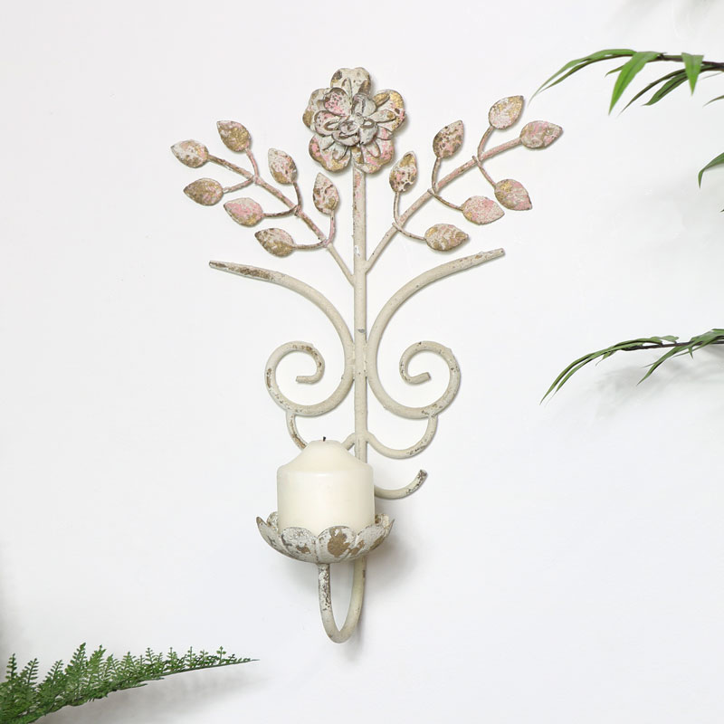 Vintage Cream Candle Sconce