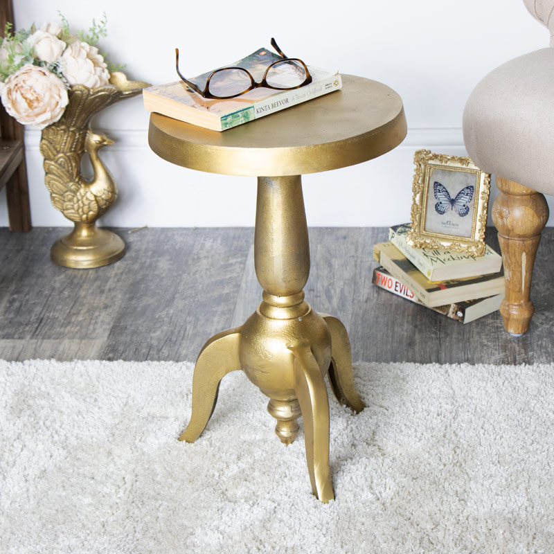 Vintage Distressed Vintage Gold Pedestal Side Table
