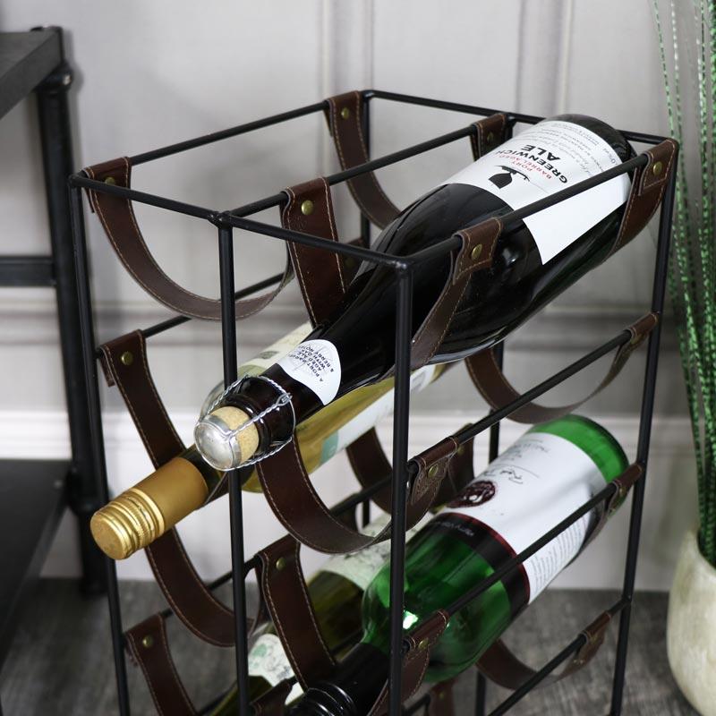 Black metal Leatherette 10 bottle Wine Rack