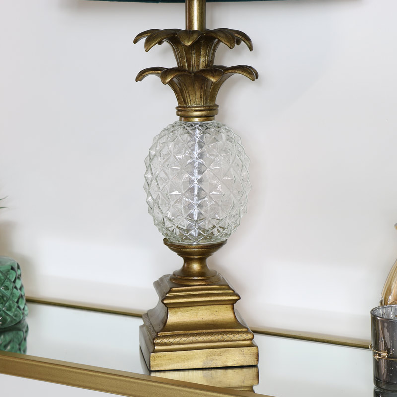Vintage Glass Pineapple Table Lamp