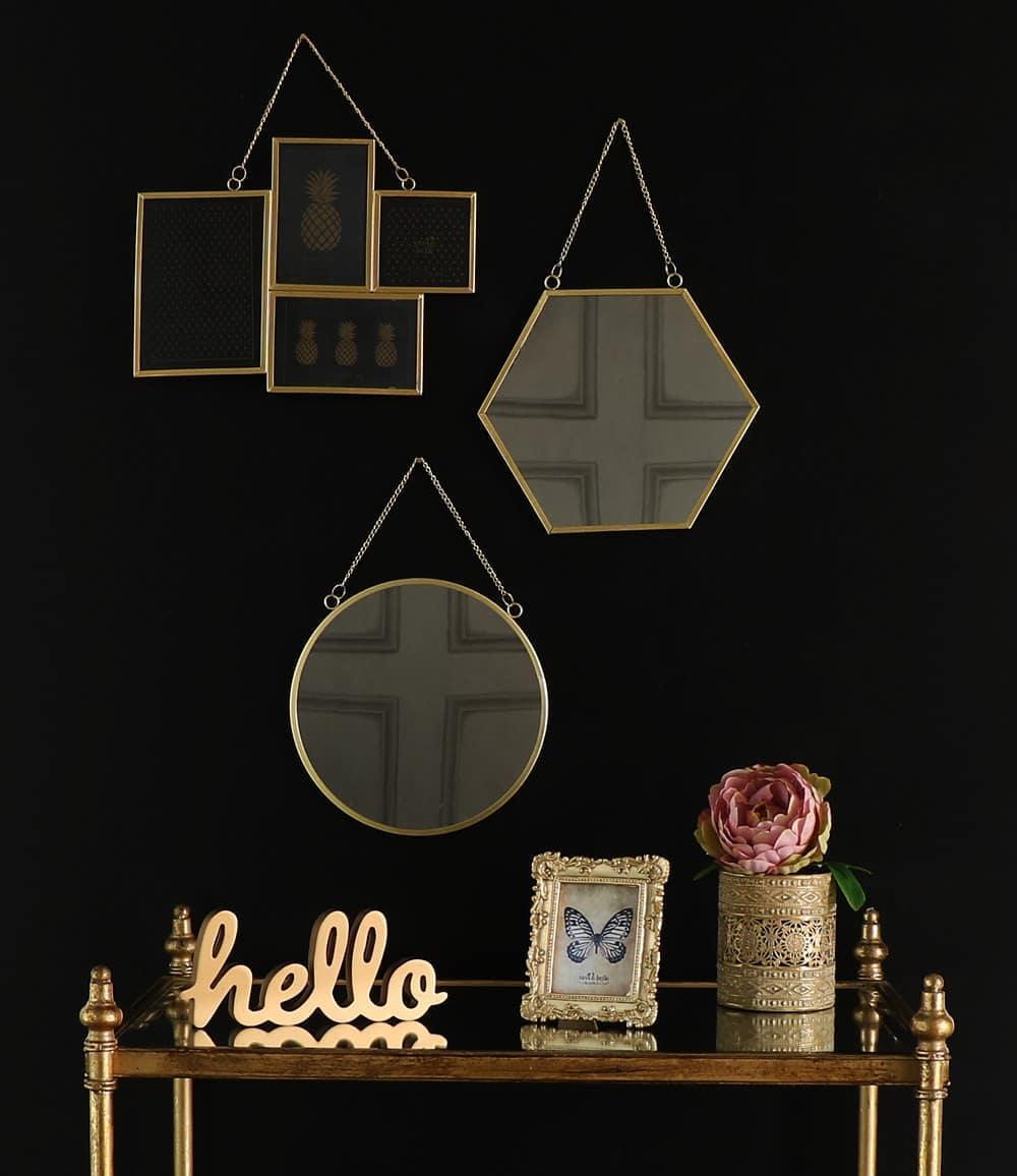 Vintage Gold Round Wall Mirror