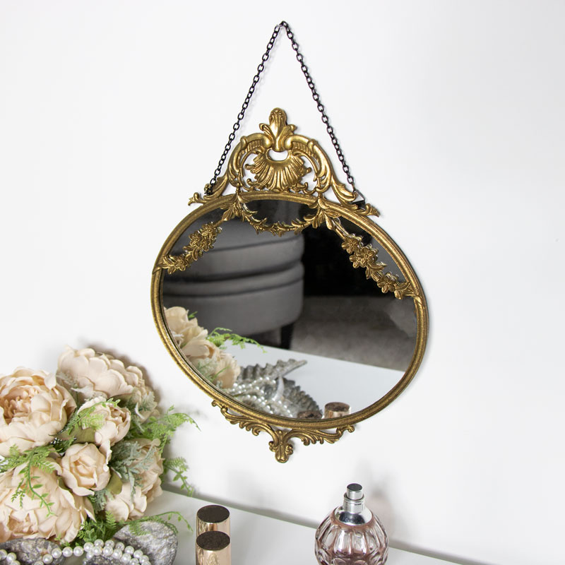 Vintage Gold Floral Wall Mirror