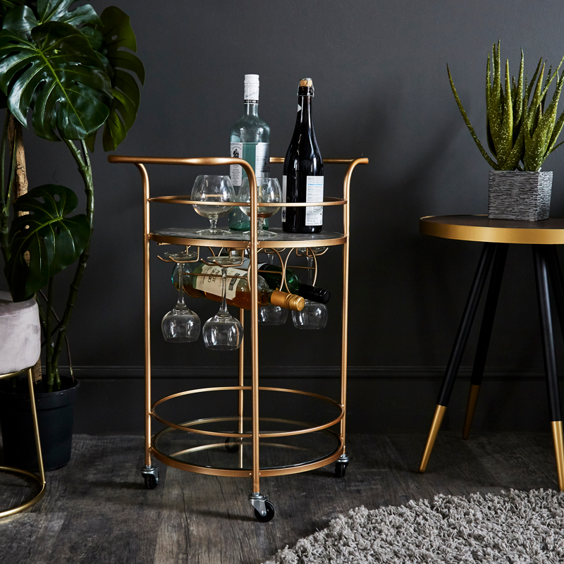 Vintage Gold Hostess Trolley