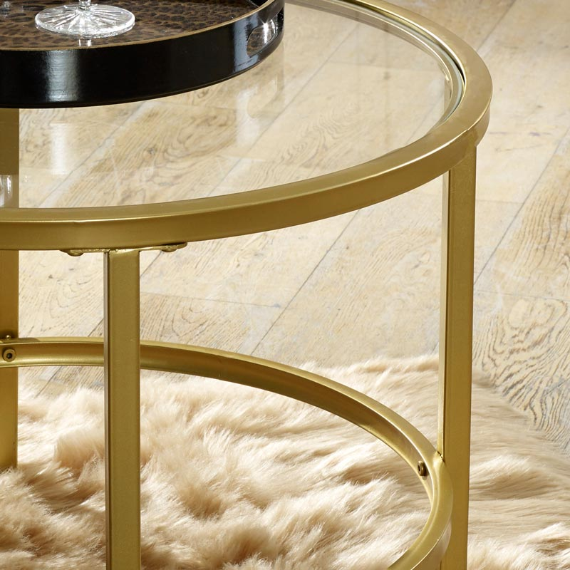 Antique Gold And Glass Coffee Table: Vintage Gold Round Glass Top Coffee Table