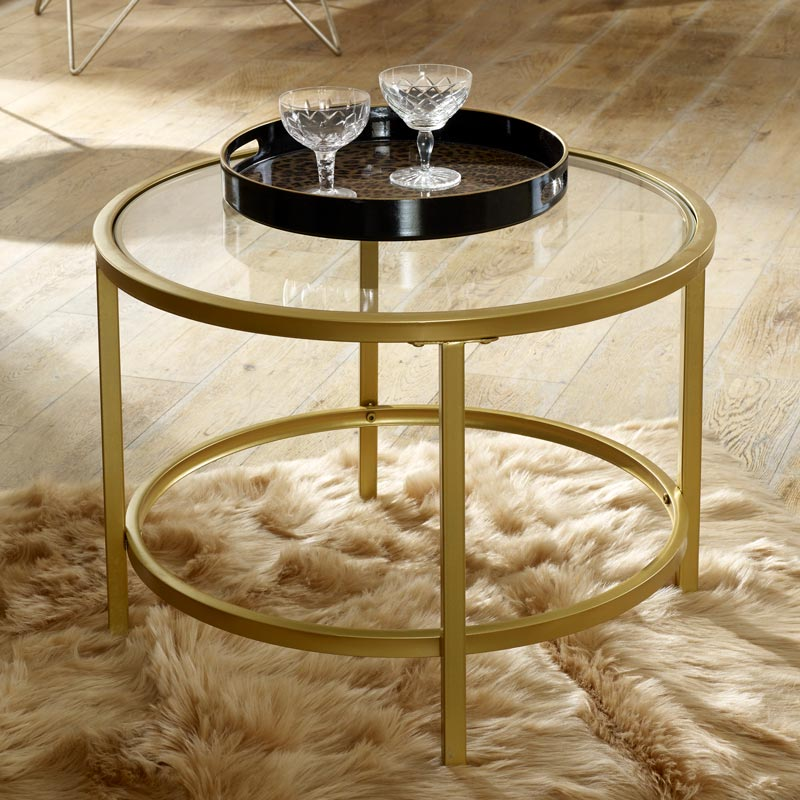Vintage Gold Round Glass Top Coffee Table Melody Maison