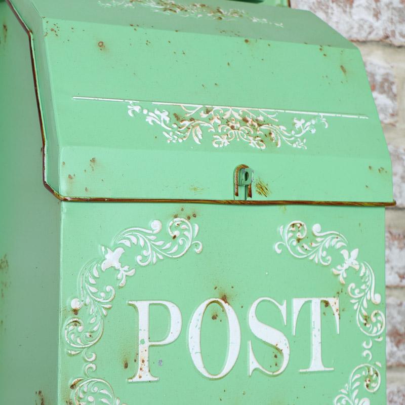 Vintage Green Wall Mounted Metal Post Box