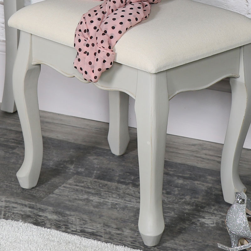Vintage Grey Dressing Table Stool - Albi