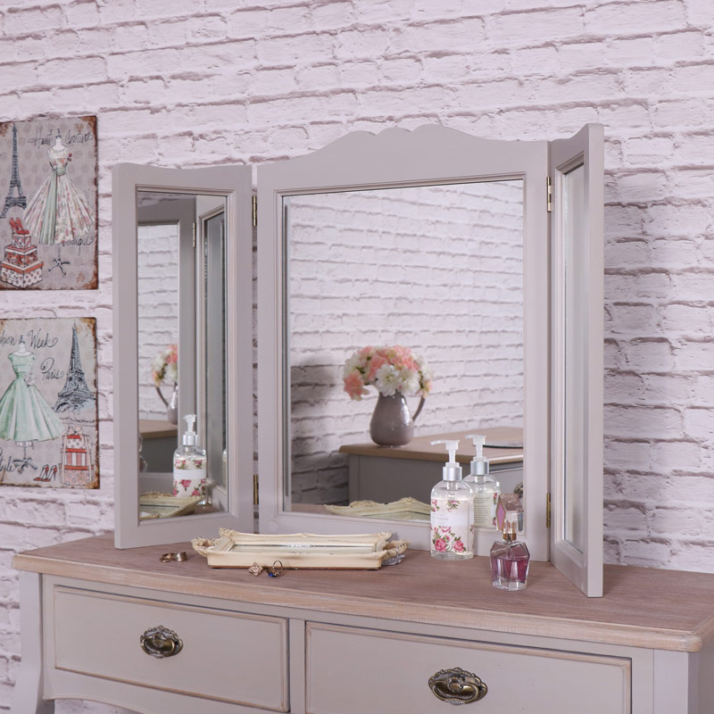 Vintage Grey Dressing Table, Triple Mirror and Stool Set - Albi Range