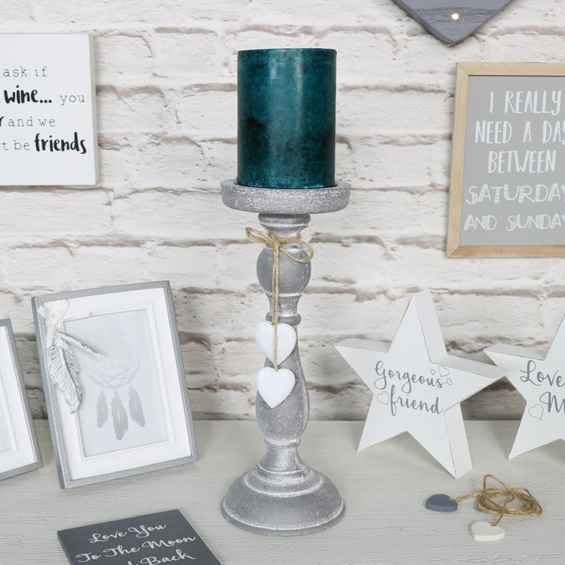 Vintage Grey Heart Candle Stand