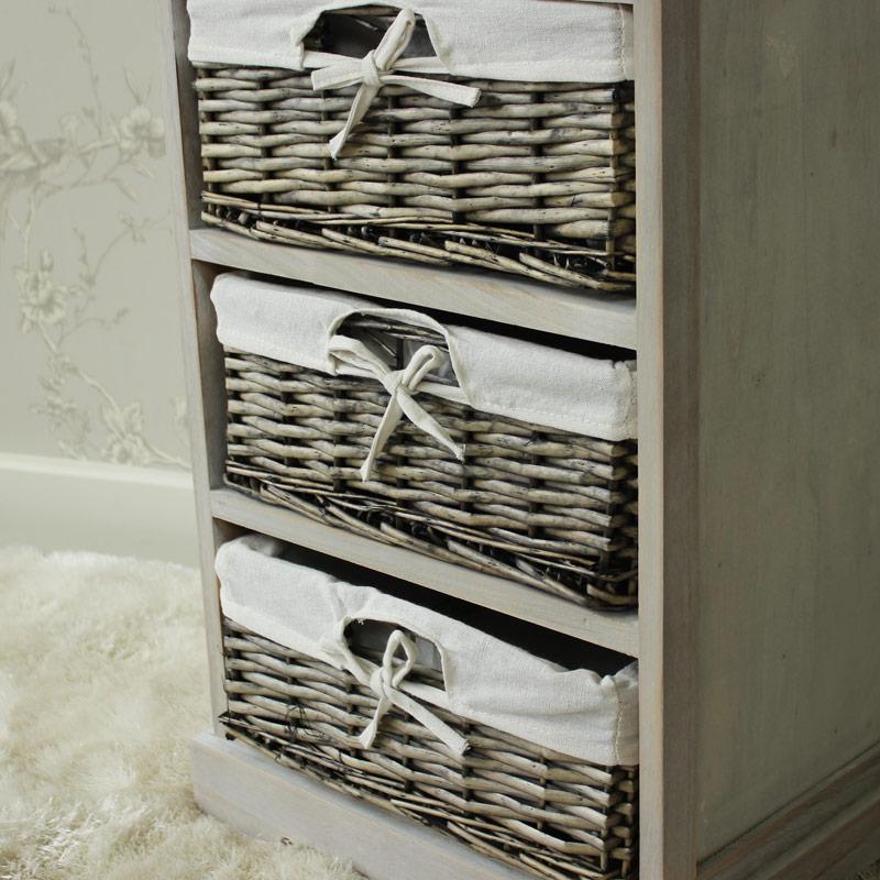 Vintage Grey Range - One Drawer with Four Wicker Baskets Tall Storage Unit