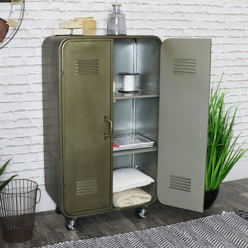 Vintage Locker Style Storage Cabinet