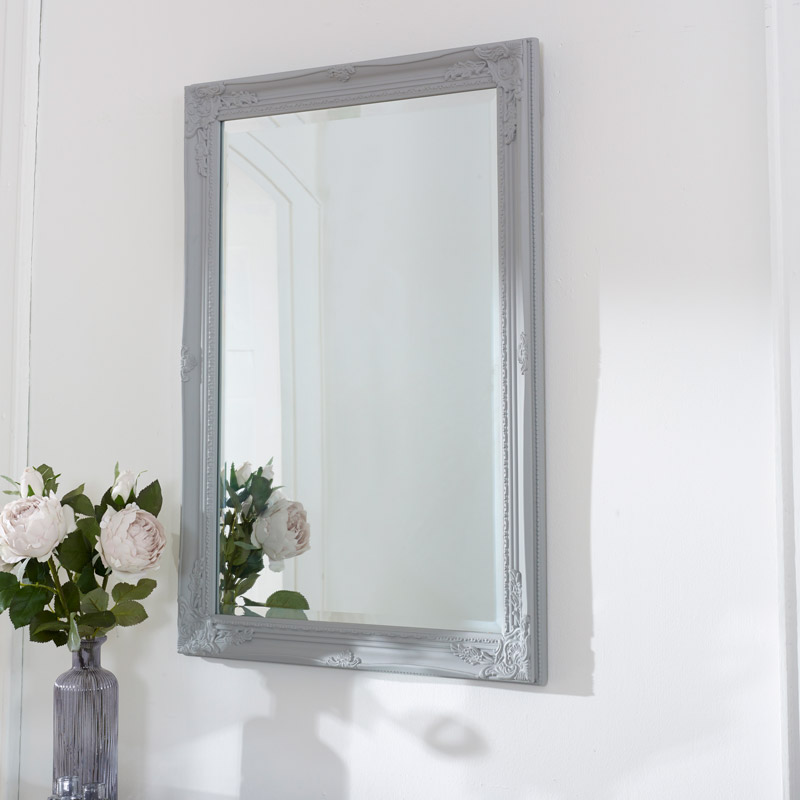 Vintage Ornate Grey Wall Mirror 62cm x 82cm