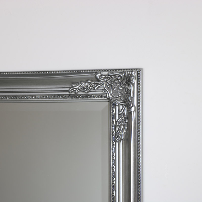 Vintage Ornate Silver Wall Mirror 62cm x 82cm