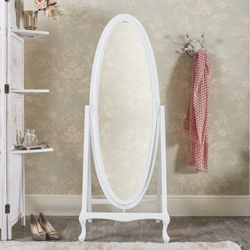Vintage White Oval Cheval Mirror