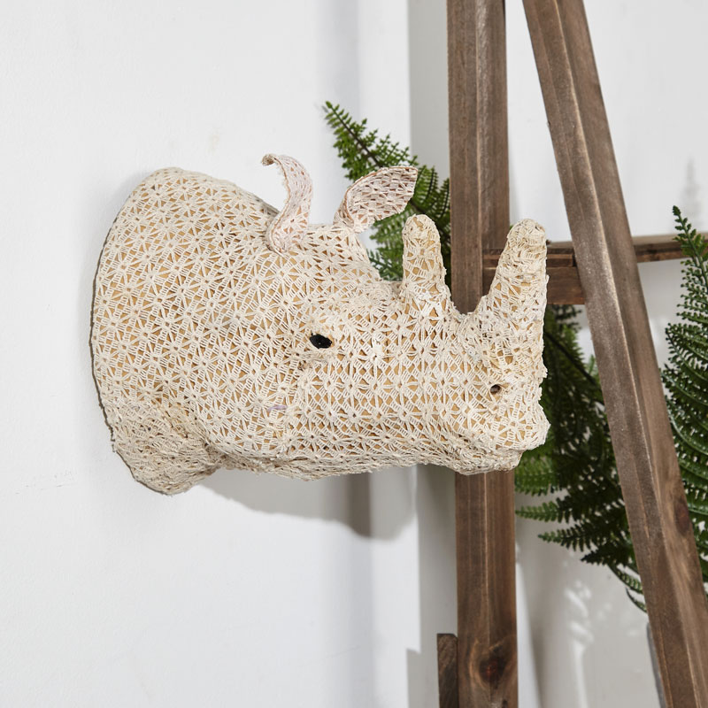 Wall Mounted Crochet Rhino Head