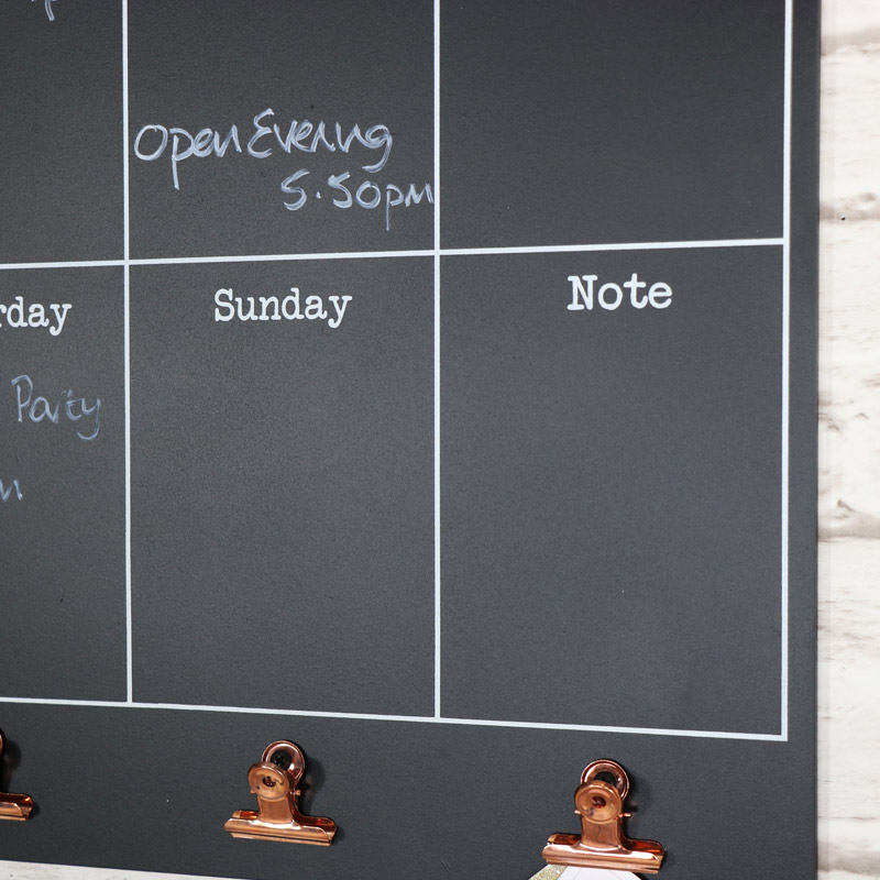 Wall Mounted Days of the Week Black Board with Copper Clips