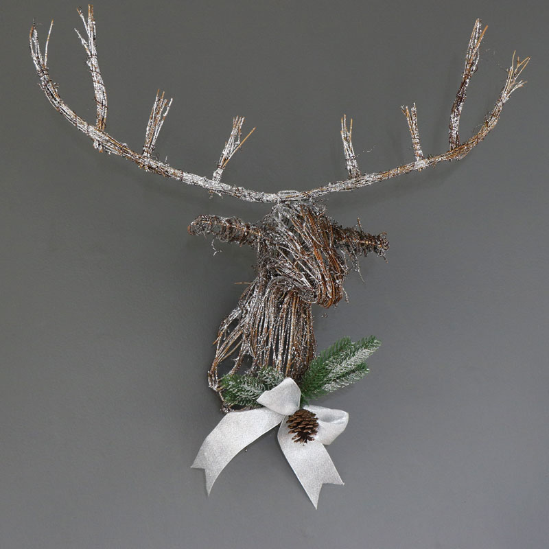 Wall Mounted Glittery Rattan Stag Head