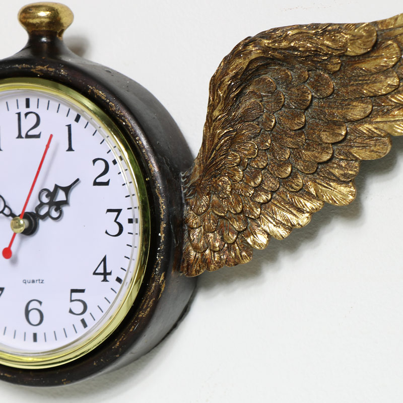 Wall Mounted Gold Angel Wing Clock