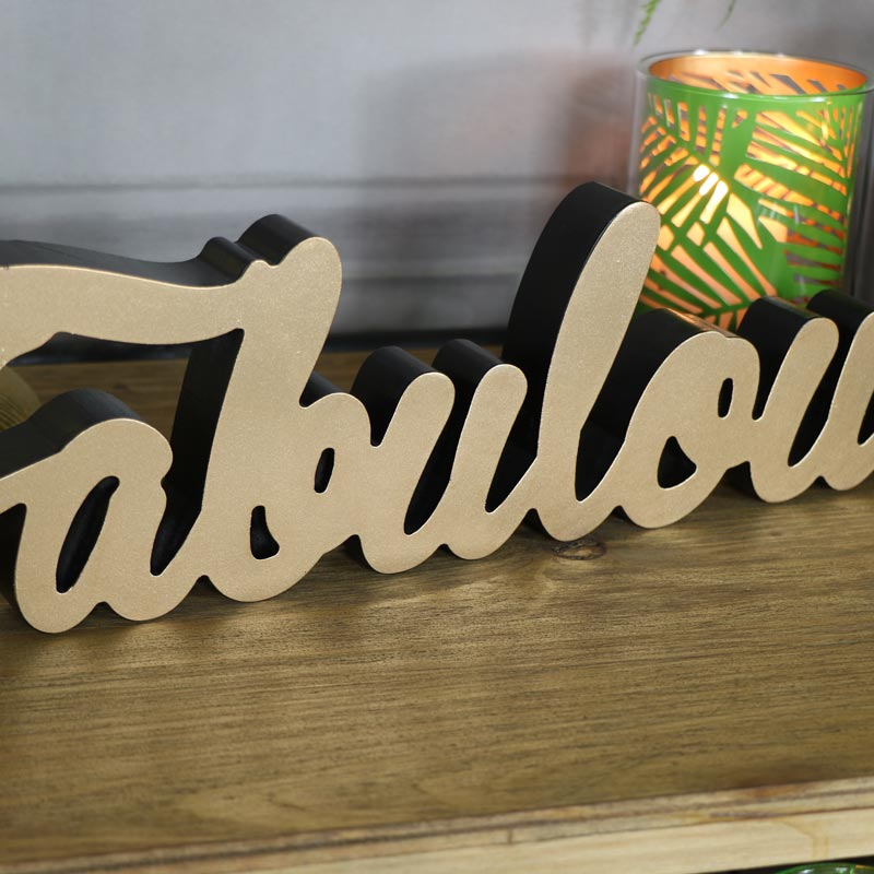 "Wall Mounted/Freestanding Gold ""Fabulous"" Plaque"