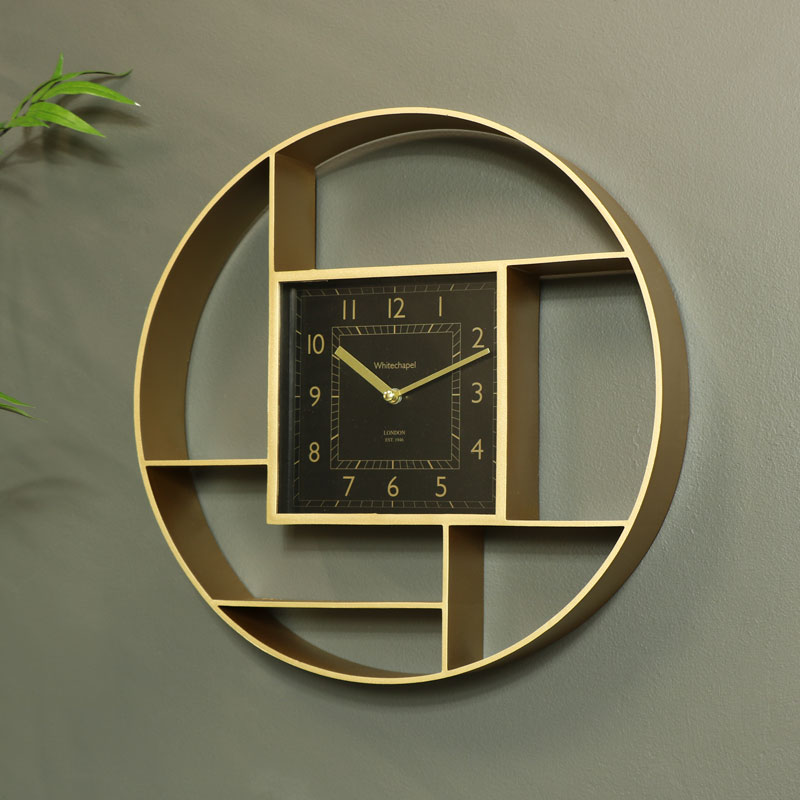 Wall Mounted Gold Shelving Unit with Clock 35cm x 35cm