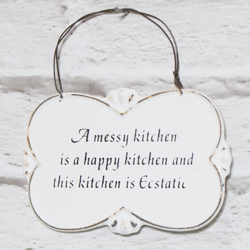 Wall Mounted Metal Messy Kitchen Humorous Plaque