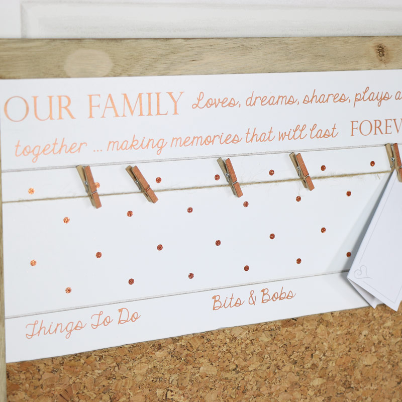 Wall Mounted 'Our Family' Memo Notice Board