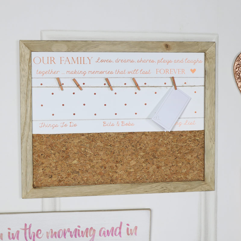 Wall Mounted Our Family Memo Notice Board  Melody Maison
