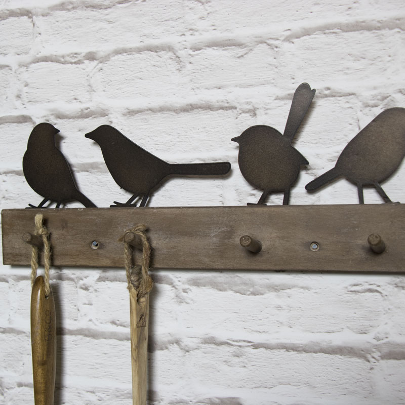 Wall Mounted Rustic Coat Rack with Metal Perched Birds