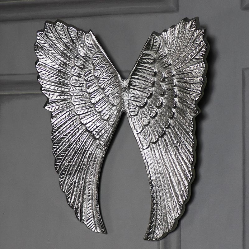 Wall Mounted Silver Metal Angel Wings
