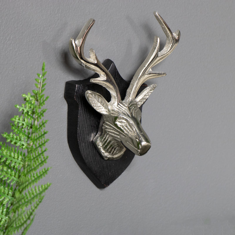 Wall Mounted Silver Stag Head on Shield