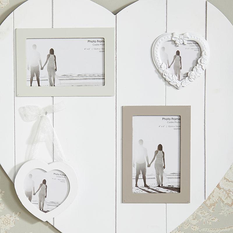 Wall Mounted White Heart Multi Photo Frame