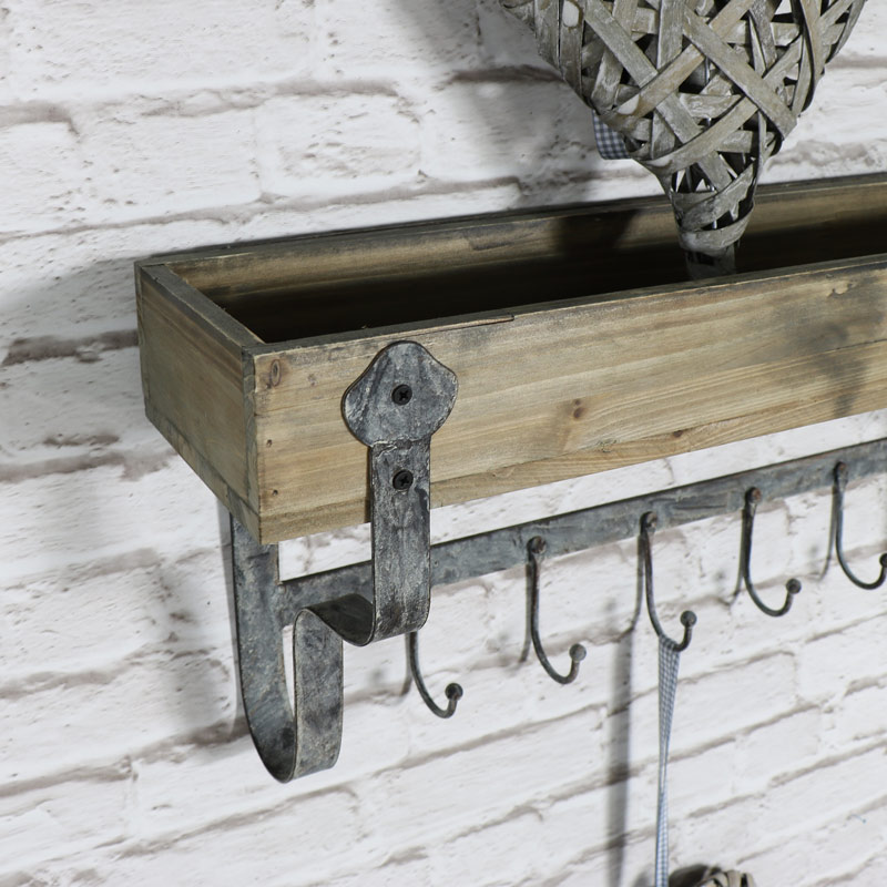 Wall mounted wooden shelf with hooks melody maison