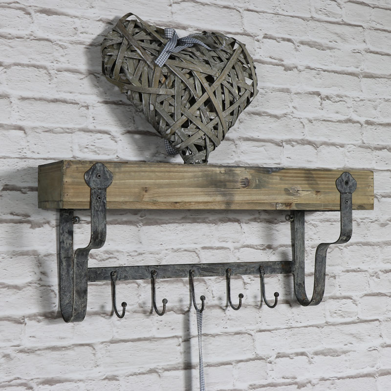 Wall Mounted Wooden Wall Shelf with Hooks Melody Maison