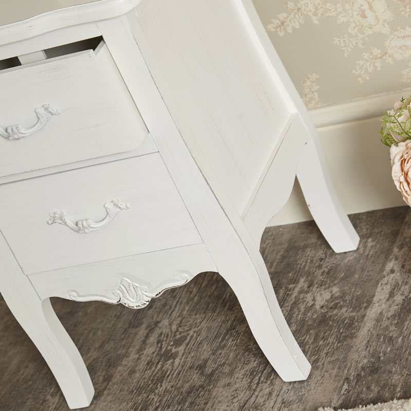 White 2 Drawer Bedside Chest - Jolie Range