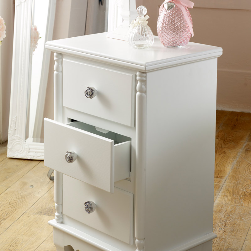 White 3 Drawer Bedside Table - Lila Range