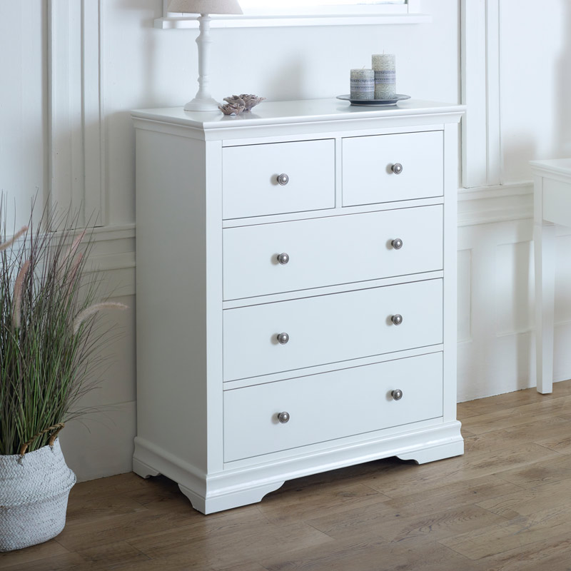 White 5 Drawer Chest Of Drawers Newbury White Range Melody Maison