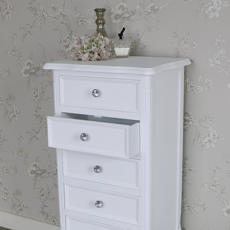 White 5 Drawer Tallboy Chest Of Drawers Elise White Range Melody