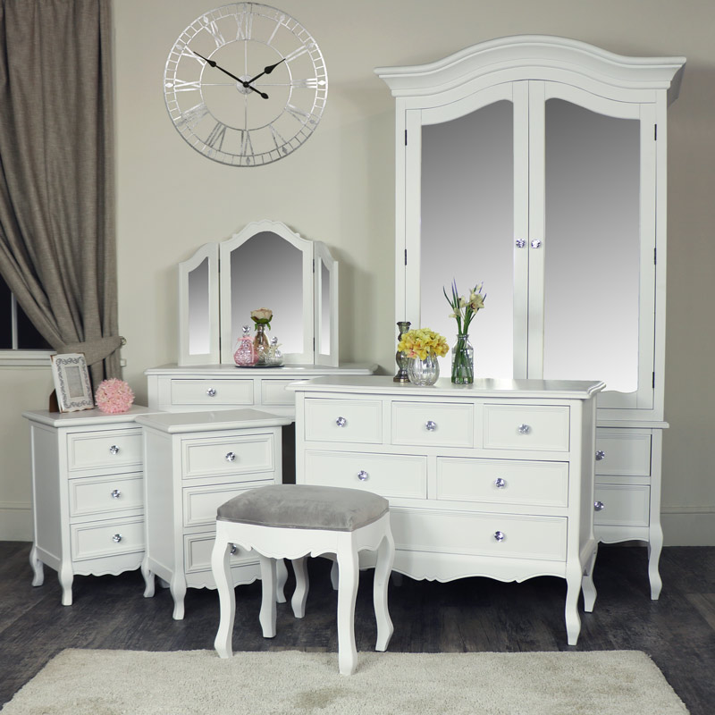 White 7 Piece Bedroom Furniture Set Victoria Range Melody Maison