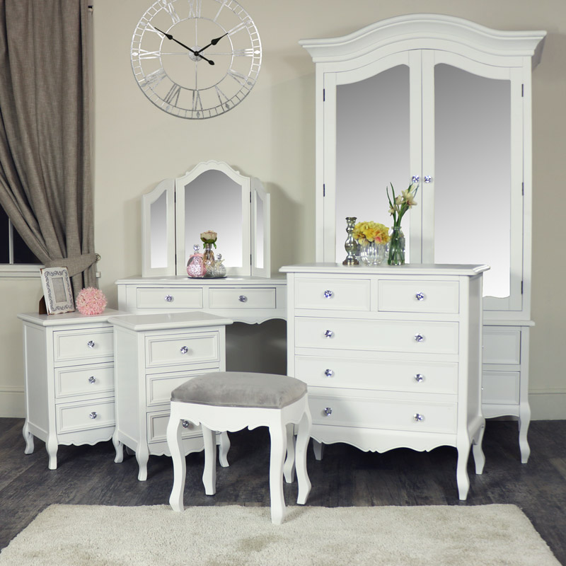 White 7 Piece Wooden Bedroom Furniture Set - Victoria Range