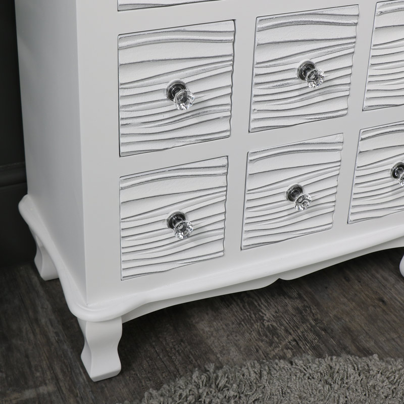 White 9 Drawer Chest of Drawers