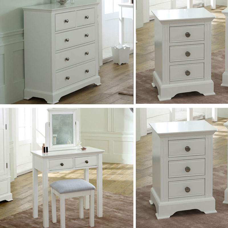 White Bedroom furniture, Chest of Drawers, Dressing Table Set & Bedside Tables - Davenport White Range